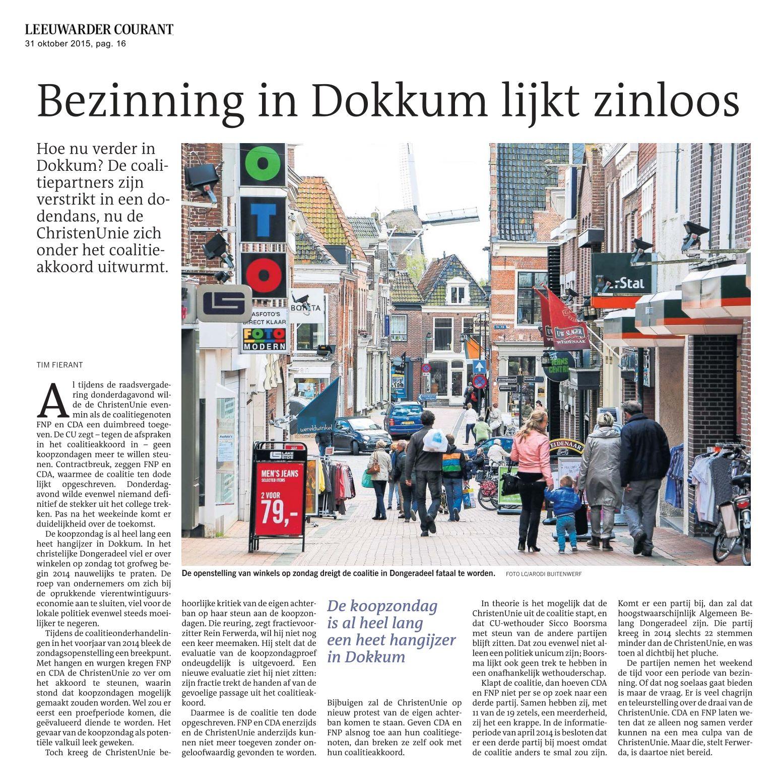 Bezinning in Dokkum lijkt zinloos LC-20151031
